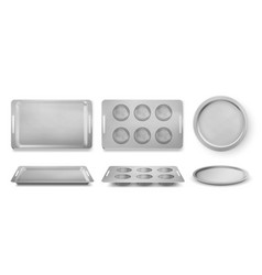 Trays for baking muffins pizza and bakery set vector