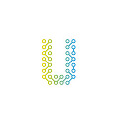 U circuit technology letter and number logo icon vector