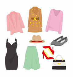 various feminine fashion style item design set vector image
