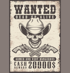 Wanted vintage poster vector