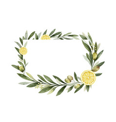Watercolor frame olive branches and vector