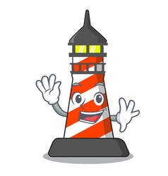 Waving cartoon realistic red lighthouse building vector