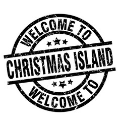 Welcome to christmas island black stamp vector