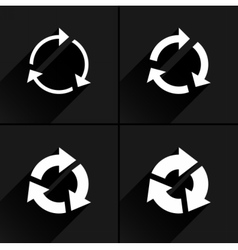White arrow icon refresh rotation repeat sign vector