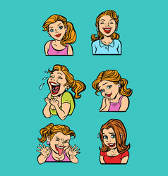 Woman emotion set collection vector