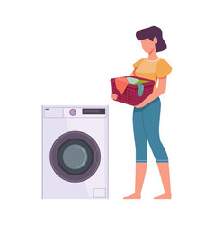 woman washes clothes female character loading vector image