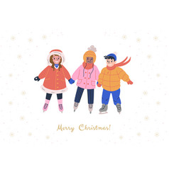Xmas greeting card with happy kids holding hands vector