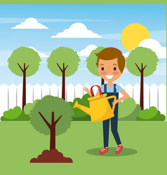 young boy watering tree in garden with trees vector image