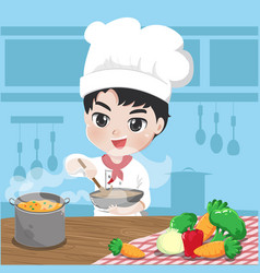 young chef is cooking vector image
