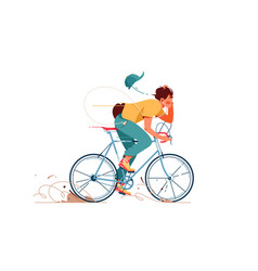 Young man rides sport bicycle listening to music vector