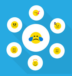 Flat icon expression set of asleep hush vector