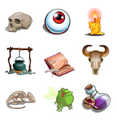 halloween symbols toad eye pot poison and other vector image vector image