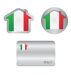 Home icon on the Italy flag vector image vector image