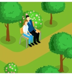 Love Couple Isometric Composition vector image vector image