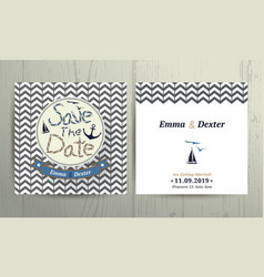 Nautical wedding save the date card on chevron vector image vector image