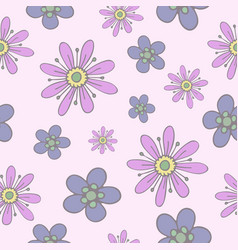 seamless pattern with gentle hand-drawn flowers vector image vector image