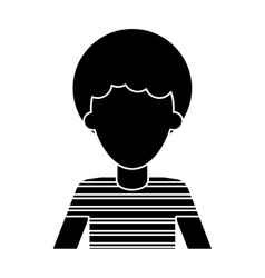 Silhouette afro man young curly hair t-shirt vector