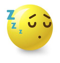 sleepy smiley icon cartoon style vector image