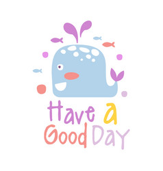 two cute cartoon whale have a good day colorful vector image