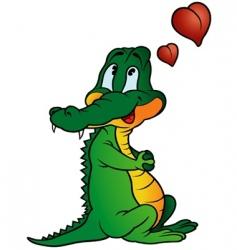 amorous crocodile vector image vector image