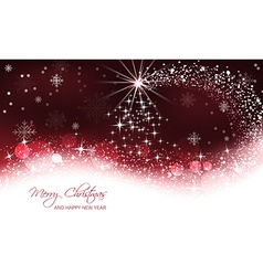 Christmas background christmas tree and snow wave vector image