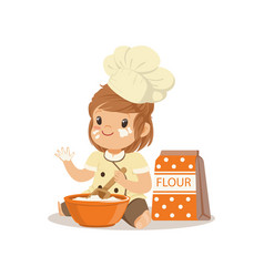 cute smiling little girl chef with bowl and whisk vector image vector image
