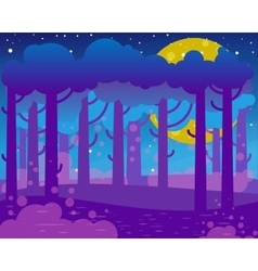 Flat night landscape with big moon and forest vector image vector image