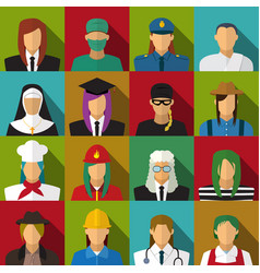 set of 16 woman job icons in flat with long shadow vector image vector image