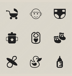 set of 9 editable infant icons includes symbols vector image vector image