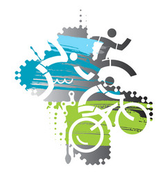 triathlon race grunge stylized vector image vector image