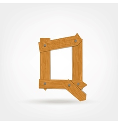 Wooden Boards Letter Q vector image vector image