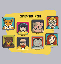 avatars set funny colorful characters men vector image