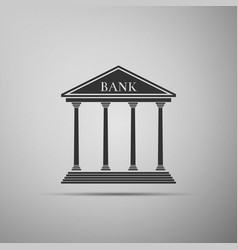 bank building icon isolated on grey background vector image