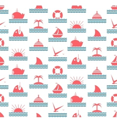 Nautical and Sea Seamless Pattern vector image