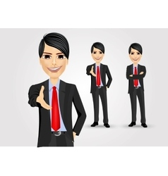 successful businessman giving a hand vector image
