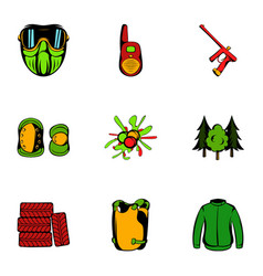 action icons set cartoon style vector image vector image