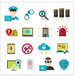 Internet safety icons virus cyber attack vector image vector image