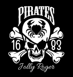 pirates jolly roger symbol poster of skull vector image vector image