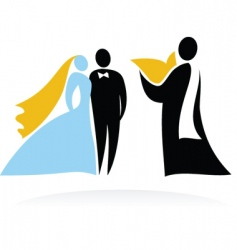wedding people silhouettes vector image