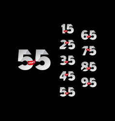 55 years anniversary celebrations set number vector