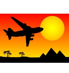 Aeroplane above pyramids vector