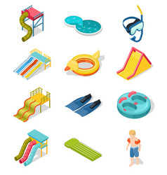 aqua park isometric icon set vector image