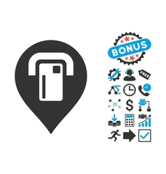Atm Map Pointer Flat Icon with Bonus vector