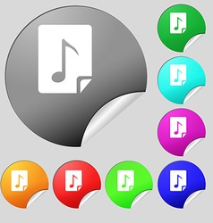 Audio MP3 file icon sign Set of eight multi vector
