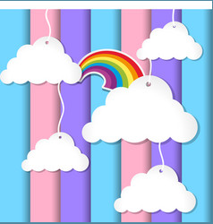 background design with clouds and rainbow on vector image