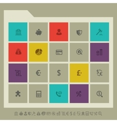 Banking icon set Multicolored square flat buttons vector image