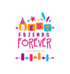 Best friend forever logo template with lettering vector