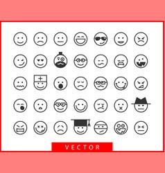 big set smiles faces collection smile icon symbol vector image