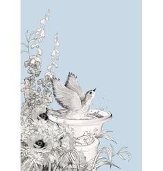 Bird Bath Sketch Flowers vector