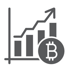 bitcoin chart glyph icon finance and economy vector image
